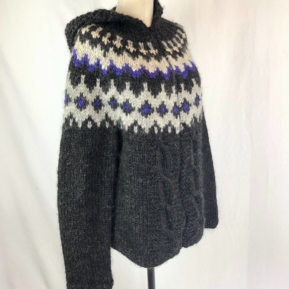 Hand Knit Wool and Mohair Fair Isle Cable Sweater